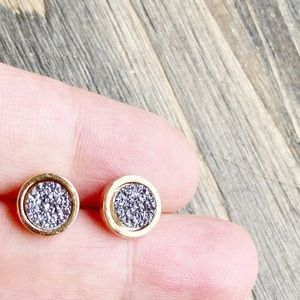 DAINTY GOLD COIN DRUZZY STUDS EARRINGS SET